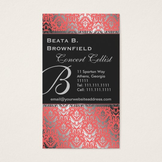 Peach and Silver Elegant Damask Pattern Business Card