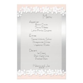 Peach and Silver Wedding Reception Menu Stationery 14 Cm X 21.5 Cm Flyer