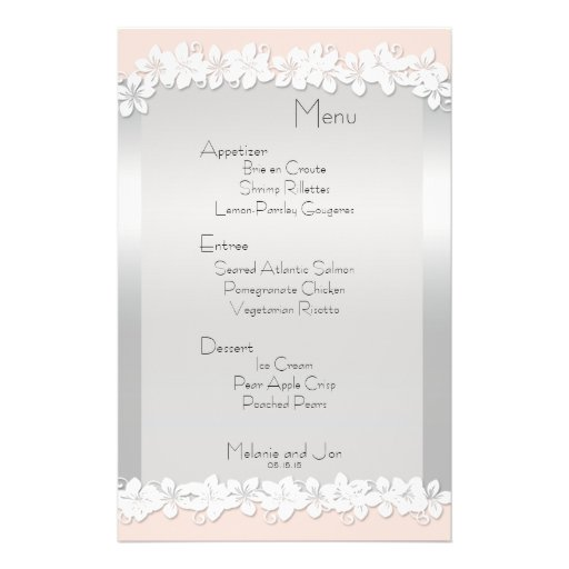 Peach and Silver Wedding Reception Menu Stationery Full Color Flyer