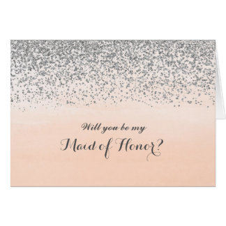 Peach and Silver Will You Be My Maid of Honor Card