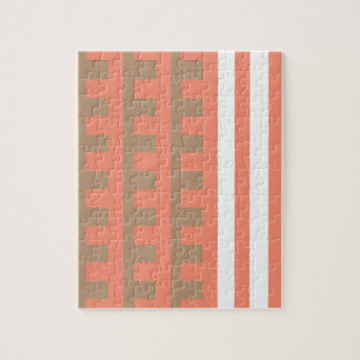 Peach and Tan Combs Tooth Jigsaw Puzzle