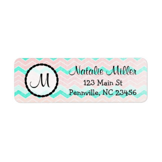 Peach and Teal striped Return Address Labels