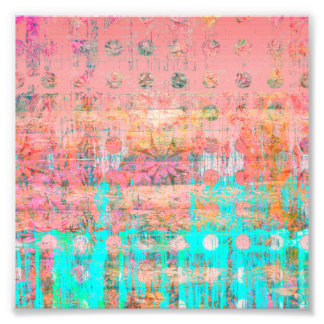 Peach and Turquoise Weathered Paint Polka Dot Photo Print