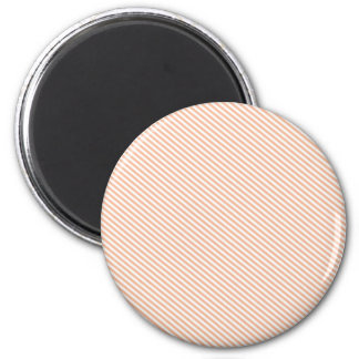 Peach and White Diagonal Stripes 6 Cm Round Magnet