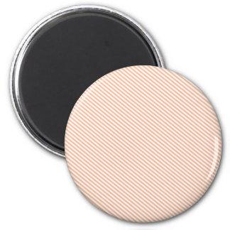 Peach and White Diagonal Stripes 6 Cm Round Magnet