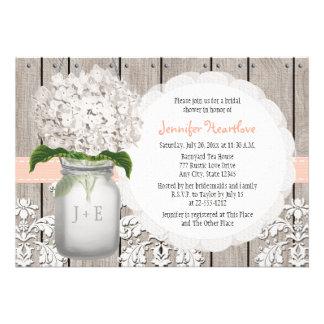 Peach and White Hydrangea Mason Jar Bridal Shower Cards
