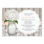 Peach and White Hydrangea Mason Jar Bridal Shower Custom Invitation