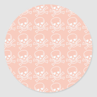 Peach and White Skulls Pattern Round Sticker
