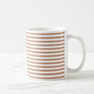Peach and White Stripe Pattern Coffee Mug