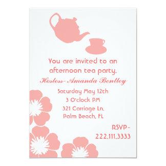 """Peach and White Tea Party Invitation 5"""" X 7"""" Invitation Card"""