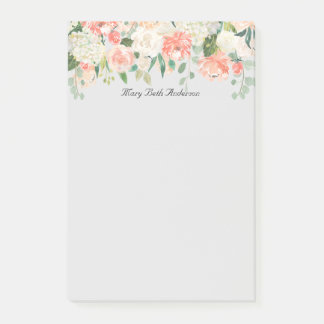 Peach and White Watercolor Floral Post-it Notes