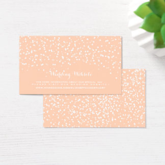 Peach and White Wedding Confetti Pattern Business Card