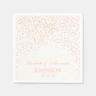 Peach and White Wedding Confetti Pattern Disposable Napkin