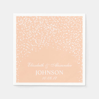 Peach and White Wedding Confetti Pattern Disposable Serviettes