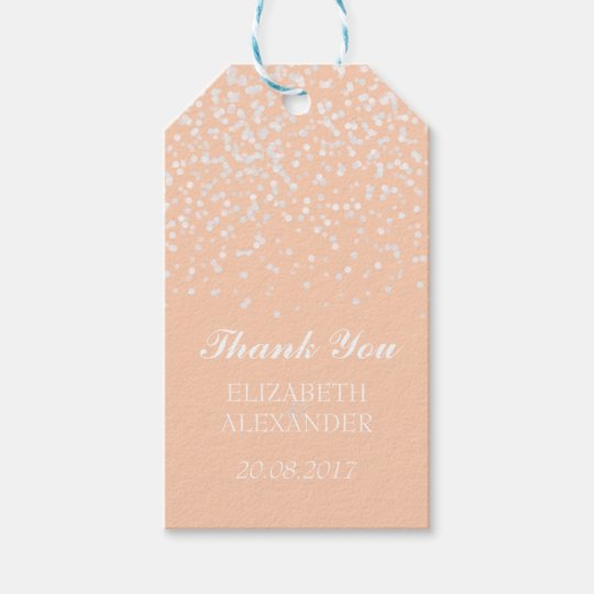 Peach and White Wedding Confetti Pattern Gift Tags