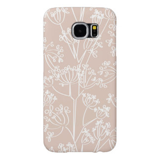 Peach and White Wildflower Pattern Samsung Galaxy S6 Cases