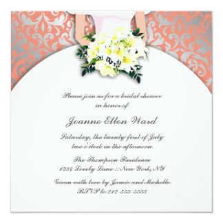 Peach and Yellow Bridal Shower Invitation