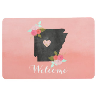Peach Arkansas State Watercolor Floral Welcome Floor Mat