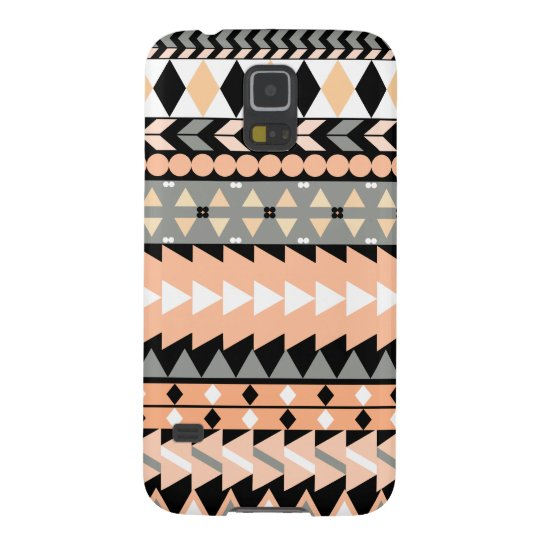 Peach Aztec Black Galaxy S5 Cases