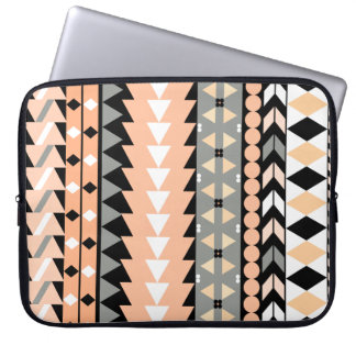Peach Aztec Black Laptop Sleeve