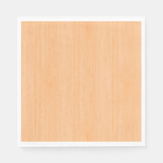Peach Bamboo Wood Grain Look Disposable Serviettes