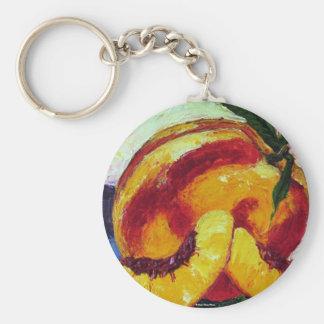 Peach Basic Round Button Key Ring