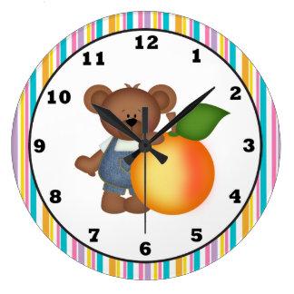 Peach Bear kitchen clock