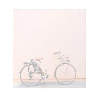 Peach Bike Basket Bicycle Two Wheel Notepad