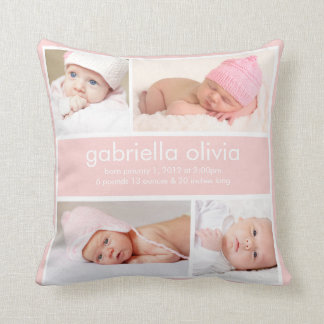 Peach Birth Announcement Throw Pillow