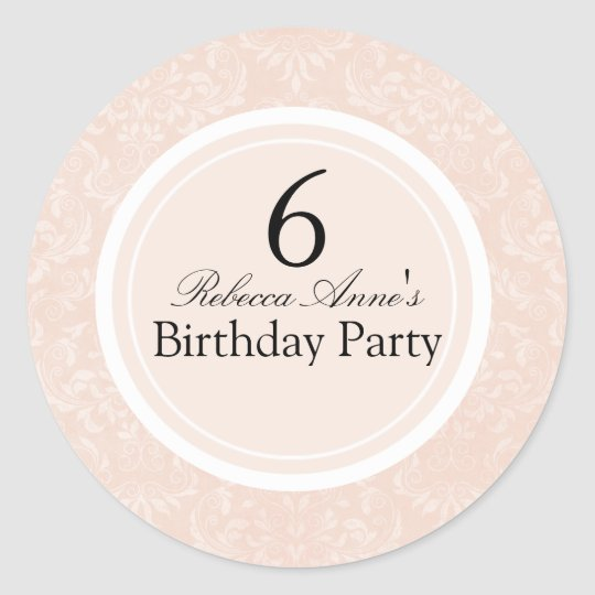Peach & Black Damask Kids Birthday Party Sticker