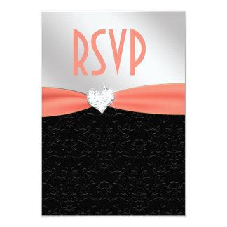 Peach Black Floral Damask Diamond Heart RSVP 9 Cm X 13 Cm Invitation Card