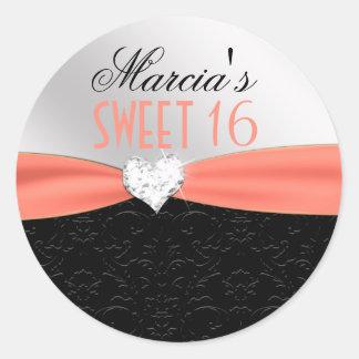 Peach Black Floral Damask Diamond Heart Seal Round Sticker