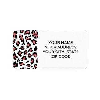 Peach Black Leopard Animal Print Pattern Address Label