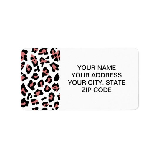 Peach Black Leopard Animal Print Pattern Address Label
