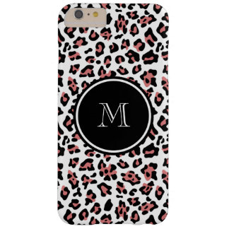 Peach Black Leopard Animal Print with Monogram Barely There iPhone 6 Plus Case