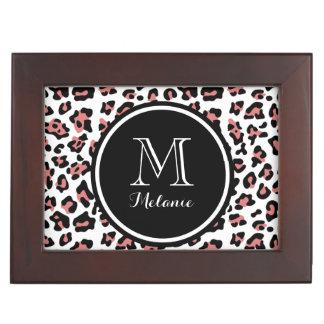 Peach Black Leopard Animal Print with Monogram Keepsake Box