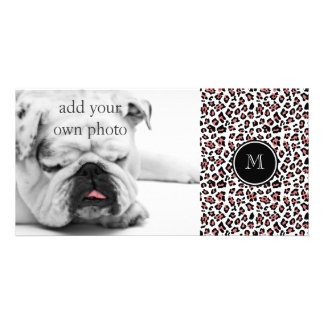 Peach Black Leopard Animal Print with Monogram Photo Greeting Card