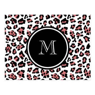 Peach Black Leopard Animal Print with Monogram Postcard