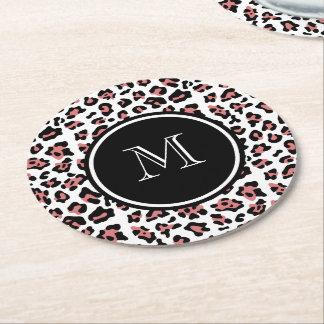 Peach Black Leopard Animal Print with Monogram Round Paper Coaster