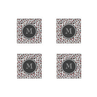 Peach Black Leopard Animal Print with Monogram Stone Magnet