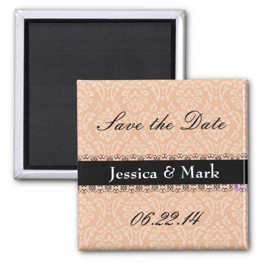 Peach & Black Save Date Damask Wedding Magnet Refrigerator Magnets