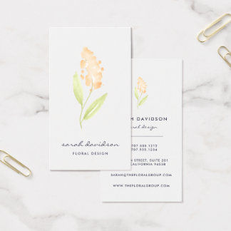 Peach Bloom | Watercolor Floral Vertical Business Card