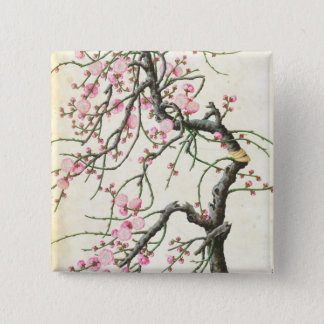 Peach blossom (colour on paper) 15 cm square badge