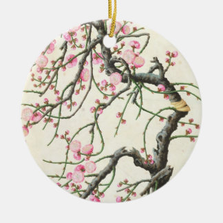 Peach blossom (colour on paper) round ceramic decoration