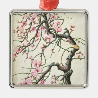 Peach blossom (colour on paper) Silver-Colored square decoration
