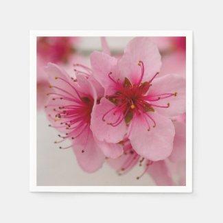 Peach Blossom Floral Paper Napkins