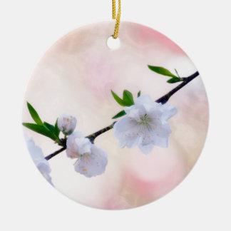 Peach Blossom Round Ceramic Decoration