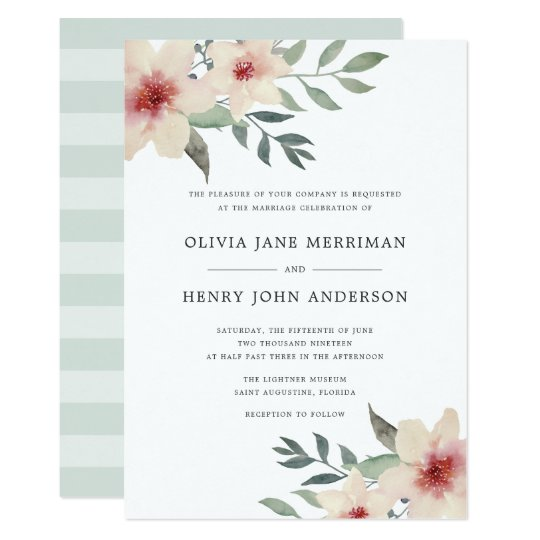 Peach Blossom Wedding Invitation