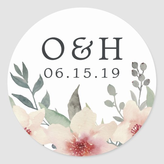 Peach Blossom Wedding Monogram & Date Classic Round