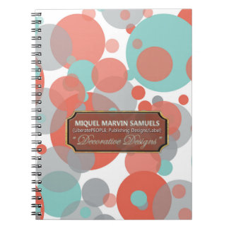 Peach Blue Gray Bubbles Modern Notebook